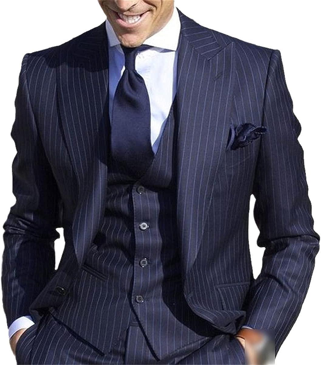 CACLSL Men's Suit Pants Striped Jacket Slim fit Wedding Groom Tuxedo Suit Prom Jacket + Pants + Vest