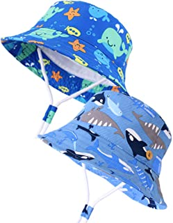 Qandsweet Baby Sun Hat Summer Beach,UPF 50+ Sun Protection Cap Fish Bucket Hats for Toddler Boy Girl Kids
