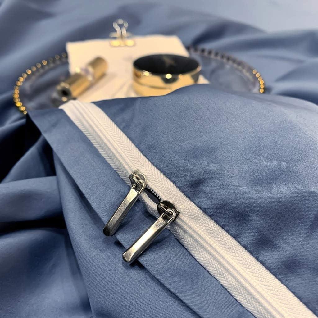 Dessus de lit 100% coton Literie 4 pièces longues peluche draps en coton et Housse de couette Amende de broderie XL 220 × 240 cm Boutis Couvre Lit (Color : Green) White