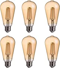 FLSNT ST58/ST19 LED Edison Bulb 40W Equivalent,E27 Base,2700K Soft White Lighting,330LM,Non-dimmable,4W,Amber Glass,6 Pack