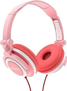 Puersit Kids Headphones Foldable Adjustable Stereo Earphone 3.5mm Jack Wired Cord On Ear Headset for iPad Smartphones Computer MP3/4 Tablet Kindle (Pink)