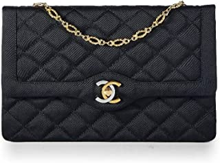 27418bceac0b CHANEL Limited Edition Black Quilted Satin Two-Tone Logo Paris Edition Flap  Bag (Pre