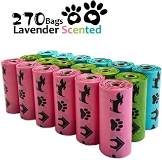 PET N PET Poop Bags 270 Counts Rainbow Color Dog Poop Bags Biodegradable Dog Waste Bags Lavender Scented Doggy Poop Bags 9 x 13 inches