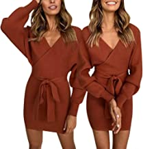 MNEFEL Women's Sexy Cocktail Long Sleeve Backless Front Knot Wrap Knit Sweater Mini Dress
