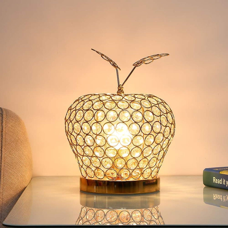 BDYJY Kristallglas Tischlampe, Dimmbare Tischlampe Chrom Kristall Schreibtischlampe Schlafzimmer Nachttischlampe Luxus Hochzeit Dekoration Tischlampe Kreative Tischlampe (E27 Lampenfassung Gold) (Edit