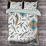 Toopeek Boho Hotel - Juego de cama de lujo, diseño tribal bohemio, diseño de plumas con motivos geométricos, cuadrados, de poliéster, suave y transpirable, color verde azulado, naranja y negro