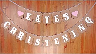 HAPPY CHRISTENING GIRL PACK OF 3 BANNERS PINK WITH ANIMAL WALL DECORATIONS EW