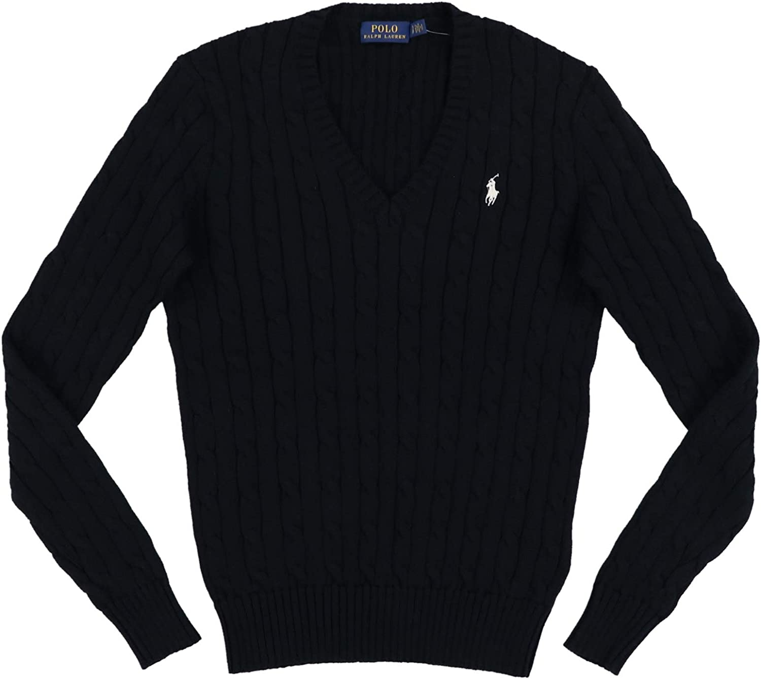 Polo Ralph Lauren Womens Cable Knit V-Neck Sweater