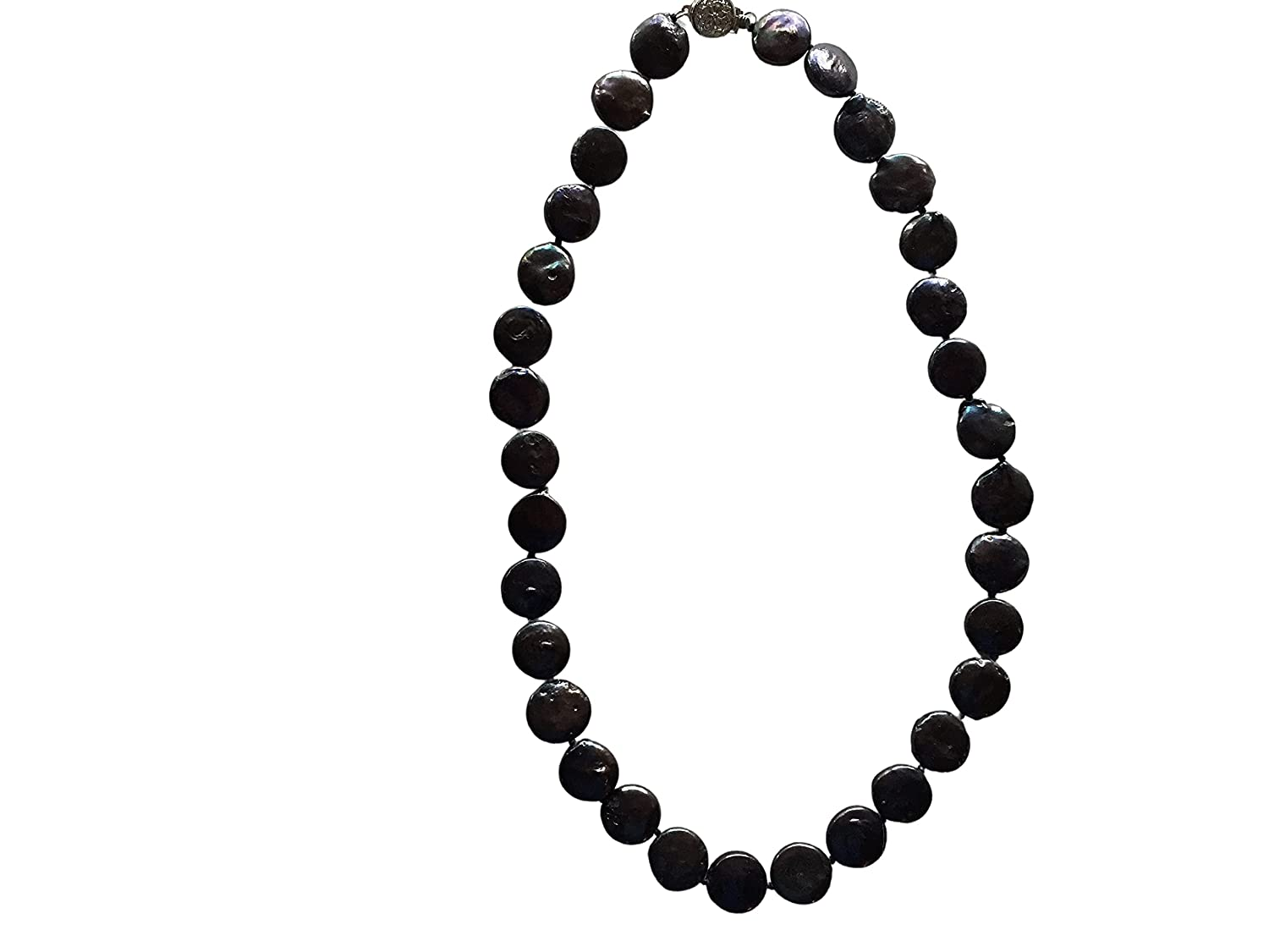 Black Mother of Pearl Carved Necklace Disks Inch Mesa Mall Max 42% OFF Beaded 18