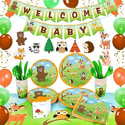 WERNNSAI Decoraciones para Fiestas Baby Shower de Animales del Bosque - Suministros para Fiestas Pancartas Globos Manteles Centros de Mesa Platos Tazas Servilletas Utensilios Sirve 16 Invitados