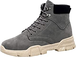 LILICHIC Men's Boots Large Size High-Top British Style Leather Boots Trend Wild Chelsea Booties