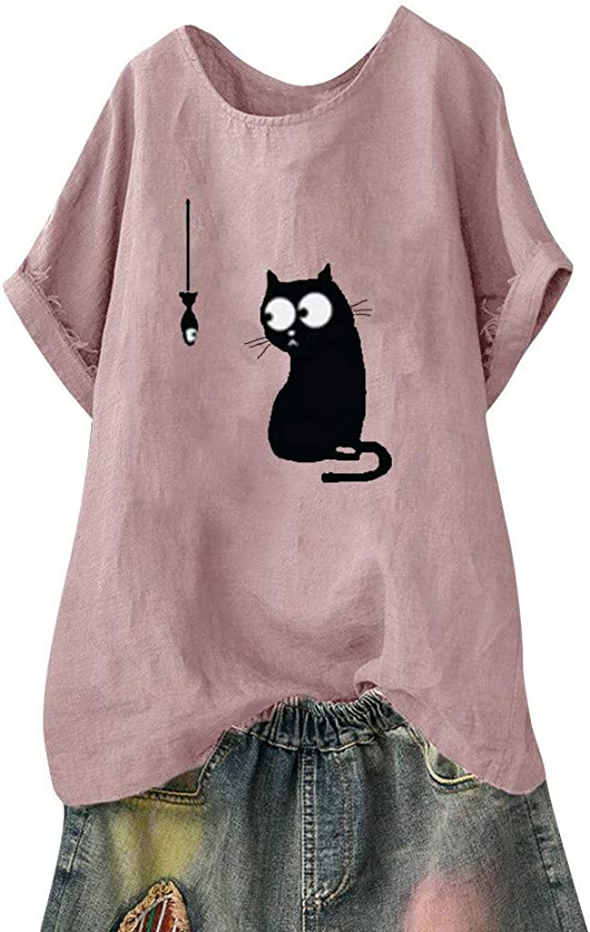 LEXUPA Women Loose Cat Limited time trial price Print Plus Beach Vintage Casual Size Ranking TOP20 Funn