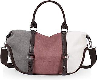 Eshow Damen Canvas Handtasche Schultertasche Umhängetasche groß mit Handgriff für Arbeit Schule Shopping rosa