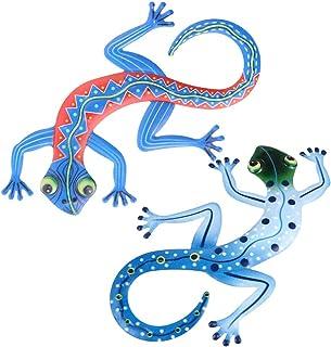 Creekwood Gecko Métal Jardin Extérieur Lézard Décoration murale-Large-Orange