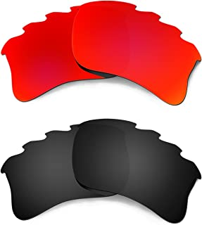 Hkuco Plus Mens Replacement Lenses For Oakley Flak Jacket XLJ-Vented Red/Black Sunglasses