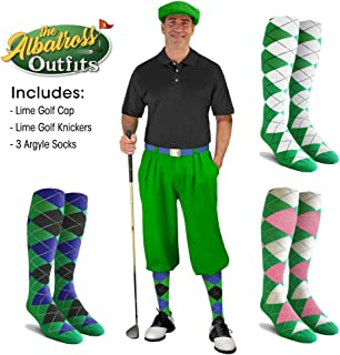 Golf Knickers Mens Albatross Golf Outfit - Lime - Golf Cap, 3 Argyle Socks