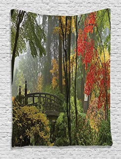 Ambesonne Apartment Decor Collection, Wet Wooden Bridge at Portland Japanese Garden Oregon in Autumn with Various Trees Picture, Bedroom Living Room Dorm Wall Hanging Tapestry, Paprika Green