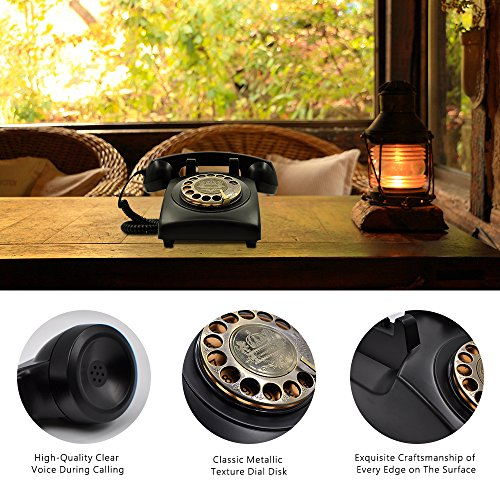 IRISVO Retro Rotary Phones for Landline, Corded phone Old Fashioned Rotary Dial Landline Phone for Home and Office Decor