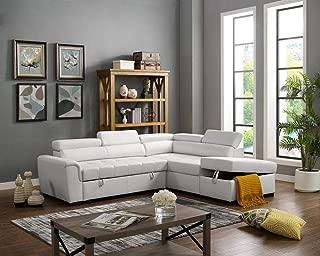 LILOLA Finley White Leatherette Sleeper Sectional