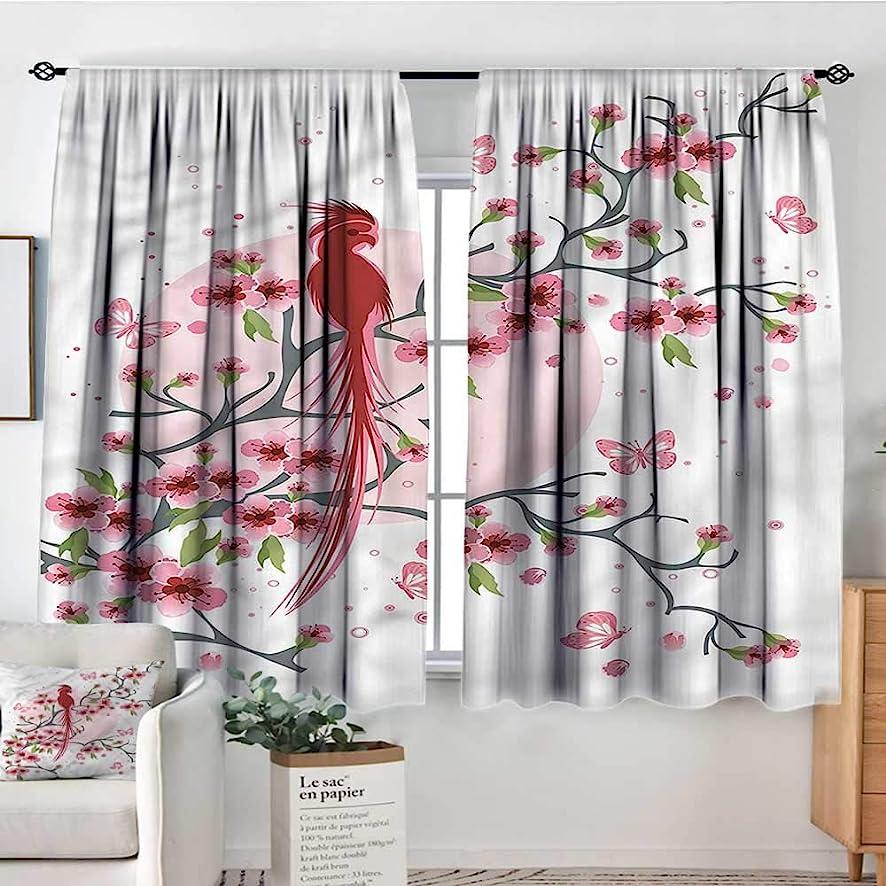 Japanese,Room Darkening Curtains Mythical Phoenix Bird 42