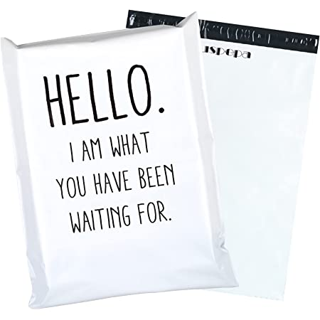 RUSPEPA Poly Mailers Shipping Bags Business Text Printed Poly Mailers 2.95 Mil Heavy Duty Self Seal Mailing Envelopes - 14.5 x 19 inches, 50 Pack, White
