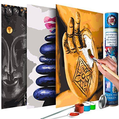 murando Malen nach Zahlen Buddha Zen Spa 120x60 cm 3 Motiven Kit Malset Für Erwachsene und Kinder ab 12 Design Geschenk-Tube DIY Gemälde Handgemalt n-A-0358-ab-e