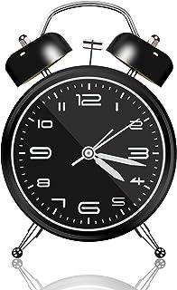 目覚まし時計 新生活 応援 YAASOKU 4インチ ベル音 ツインベル アナログ連続秒針 ナイトライト付 3D置き時計 入園 入学祝い (ブラック)