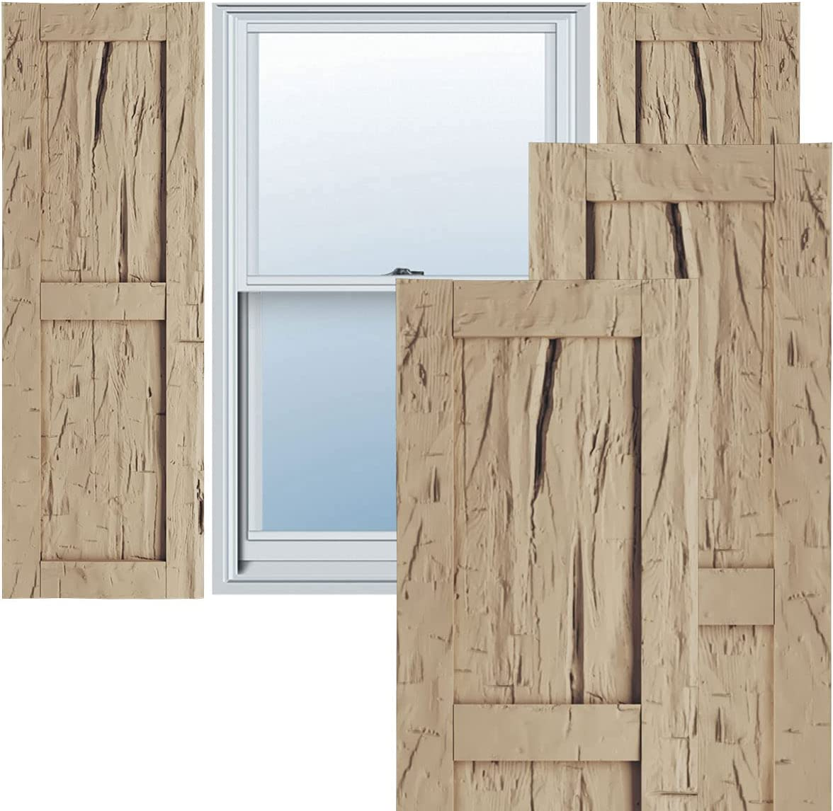 Ekena Millwork SHULVRW Faux Max 59% OFF Wood Per Shutters Ranking TOP15 Pair Two Rustic