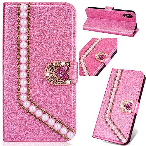 Billig Leder Flip Sparkle Diamond für iPhone 11 Pro,Glitter Glitzer Magnet Hülle Musterg Soft Slim Retro Bookstyle Stand Funktion Karteneinschub