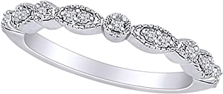 Marquise & Round Diamond Eternity Ring Stacking Infinity Wedding Band Sterling Silver (1/10 Cttw)