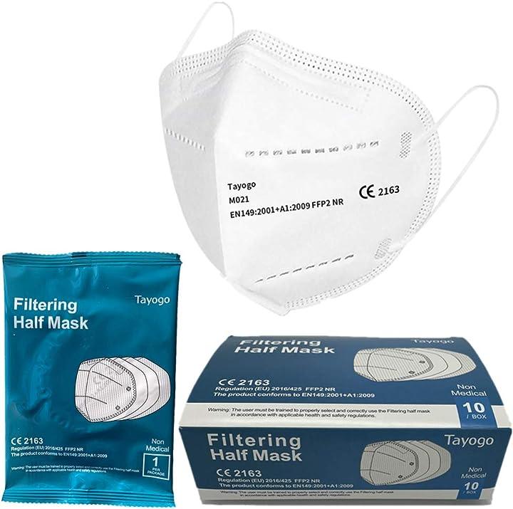 Mascherina ffp2/kn95, maschere usa e getta con paraorecchie, 96% di filtraggio multistrato B08K8TTBSR