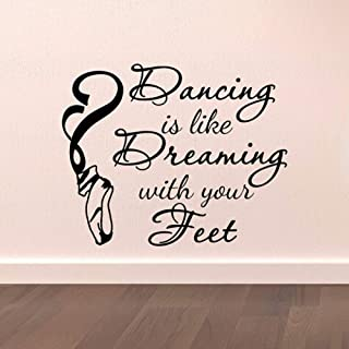WSYYW Dance Wall Decal Stickers Dancing is Like Dreaming with Your Feet Quotes Dancer Ballerina Ballet Pointe Shoes Art Vinyl n1 51x42cm