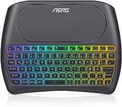 Aerb Mini Tastiera Wireless Retroilluminata Senza Fili Ricaricabile Tastiera con Touch Pad per Android TV Box, HTPC, Smart TV, Console, Laptop/PC