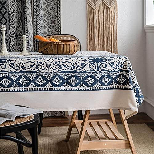 Mantel Rectangular de Comedor de Porcelana Azul y Blanca con Estampado de Lino y algodón Retro, decoración de Cocina y Sala de Estar, A140 * 160cm
