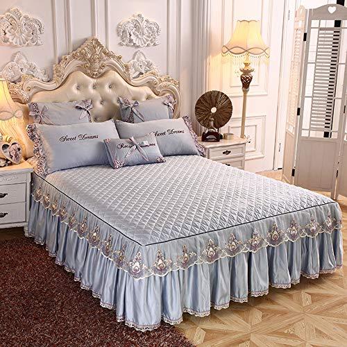 3PCS Bettrock Tagesdecke Rüschen Bett Rock Bett Volant Bettüberwurf Mit Rüschen Faltenresistent Und Ausbleichen Beständig,Color2-200x220cm(79x87inch)