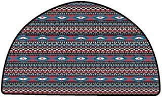 Corridor Rug Colorful Native American,Primitive Style Aztec Folkloric Striped Design Antique Maya Patterns,Black Blue Coral,W30 x L18 Half Round Camping Rugs for Outside