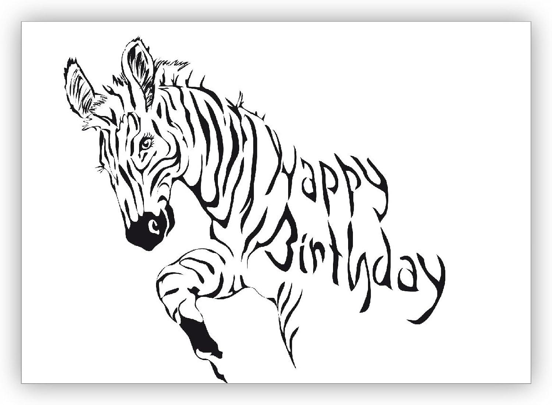 16 Grußkarten (16er Set) Set) Set)  Coole Zebra Geburtstagskarte  Happy Birthday B01IPZ6SW0 | Realistisch  5f88f5