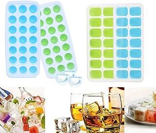 Bandejas de Cubitos de Cubitos Hielo Cuadrados y Redondos, 4 Pack Bandeja de Hielo de Silicona con Tapa Apilables Hielo Moldes de Cubitos de Hielo para Congelar Alimentos para Bebés, Cócteles