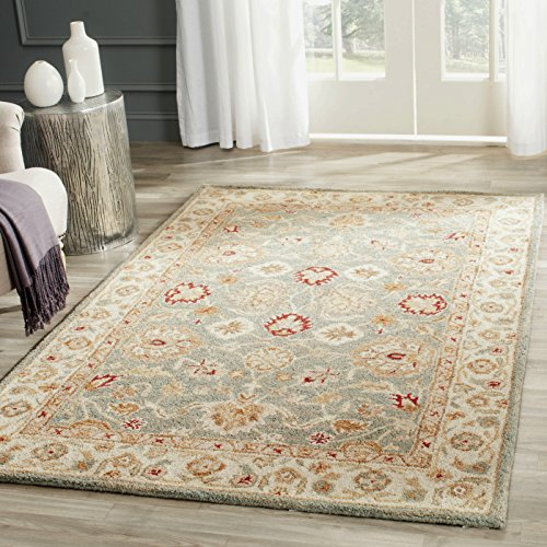 Safavieh Antiquities Collection AT822A Handmade Traditional Oriental Grey Blue and Beige Wool Area Rug (3' x 5')