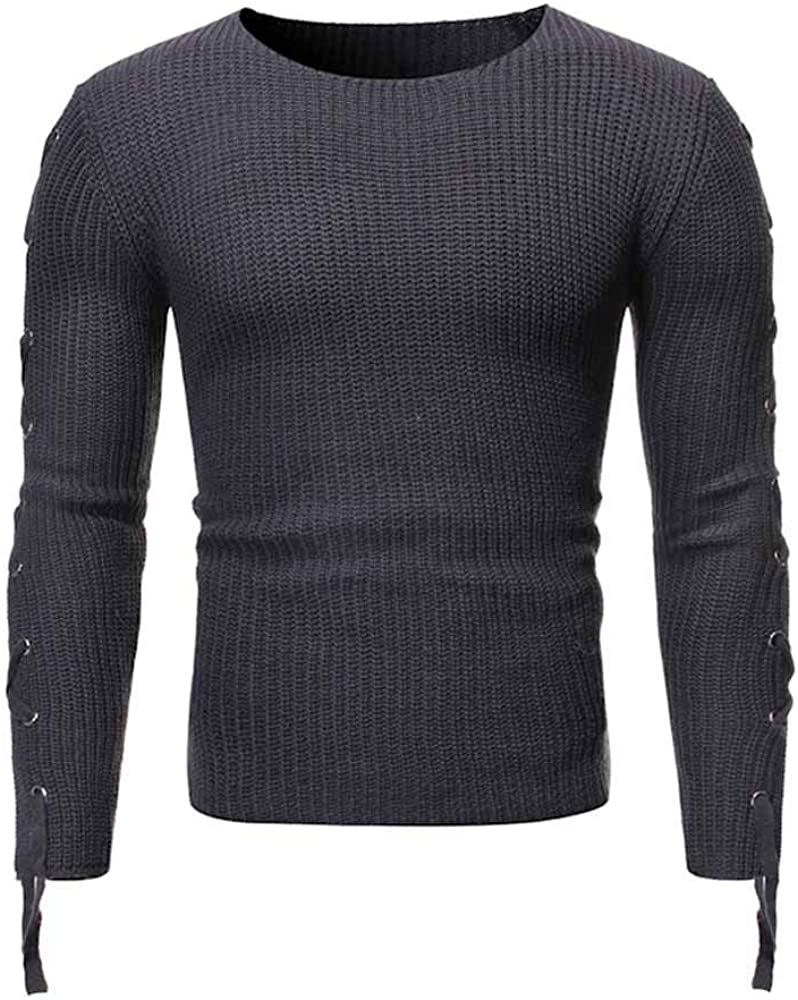 JMSUN Spring and Autumn Lace Up Solid Color Pullover Men Sweater