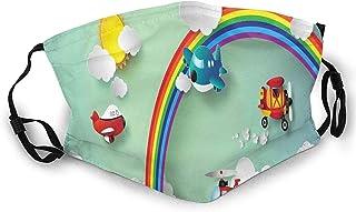 Avión de aire caliente globo helicóptero volando sobre arco iris Sunny Sky Happy Baby Face M-A-S-K lavable Bandana para ad...