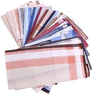 HOMYL 12pcs Men Vintage Striped Handkerchief Pocket Square Wedding Party Hanky Lot