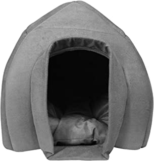 Mellifluous Igloo Shape Grey Soft Hut for Toy Dogs & Cats (Large, Grey)