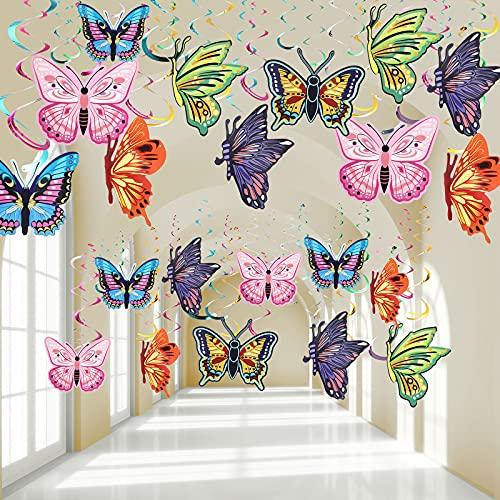 24 Decoraciones de Remolino Colgante de Mariposa de Primavera Serpentina Colgante de Fiesta de...