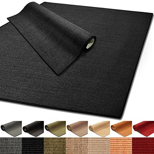 100% reines Sisal | Sisalteppich in verschiedenen Farben und vielen Größen (Schwarz, 66 x 130 cm)