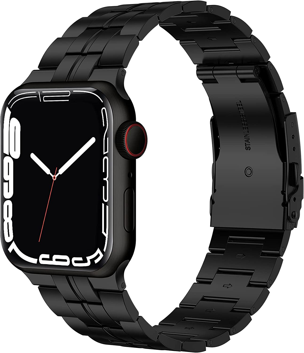 baozai Titanium Band Compatible with Apple Watch 45mm 44mm 42mm, Upgraded Solid Titanium Wristband for Apple Watch Series 7/6/5/4/3/2/1/SE Men Sports Business