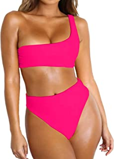 Byoauo Women Bikini One Shoulder Top with High Waisted Bottom Two Piece Swimsuit