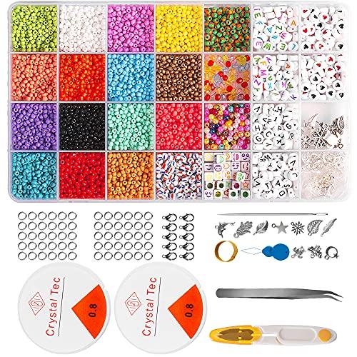 8500 unidades de perlas de 3 mm para enhebrar, cuentas de letras, cuentas de Rocailles con cordón elástico, tijeras para hacer pulseras, joyas y artesanía