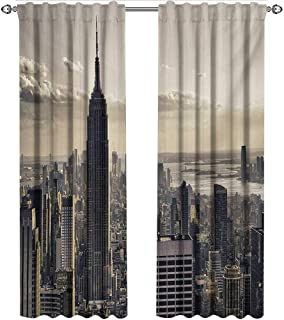 shenglv New York, Curtains Room Darkening, Aerial View of NYC in Winter American Architecture Historical Popular Metropolis, Curtains and Drapes for Living Room, W84 x L84 Inch, Beige Grey