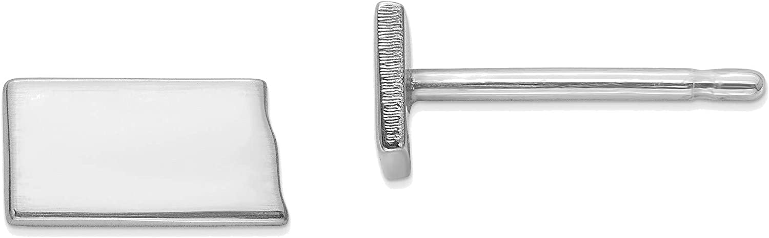 14kt White Gold ND Small State Earring